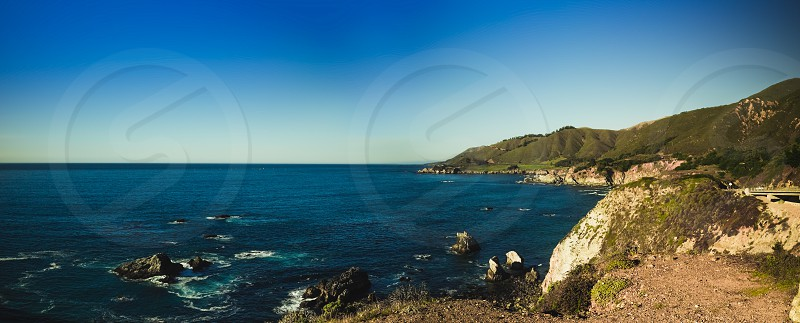 Ocean view from the cliffs of Highway 1 in California. photo