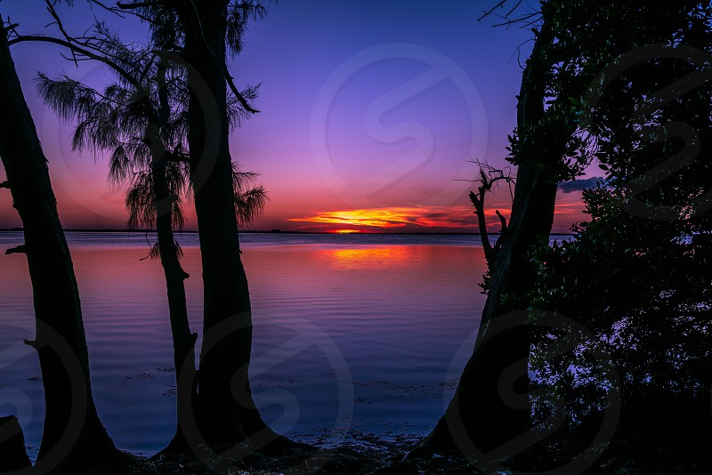 A spectacular sunset on Tampa Bay near St. Petersburg Florida. photo