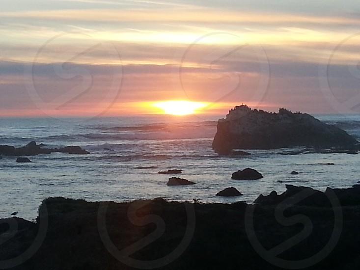 sunset california cayucos pacific ocean photo