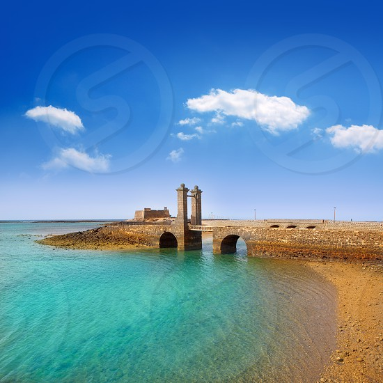 Arrecife Lanzarote Castillo San Gabriel castle and Puente de las Bolas bridge photo