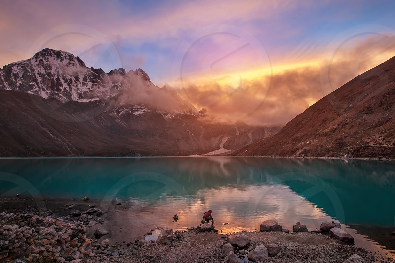 Sunset over Gokio Lake Himalayas Nepal photo