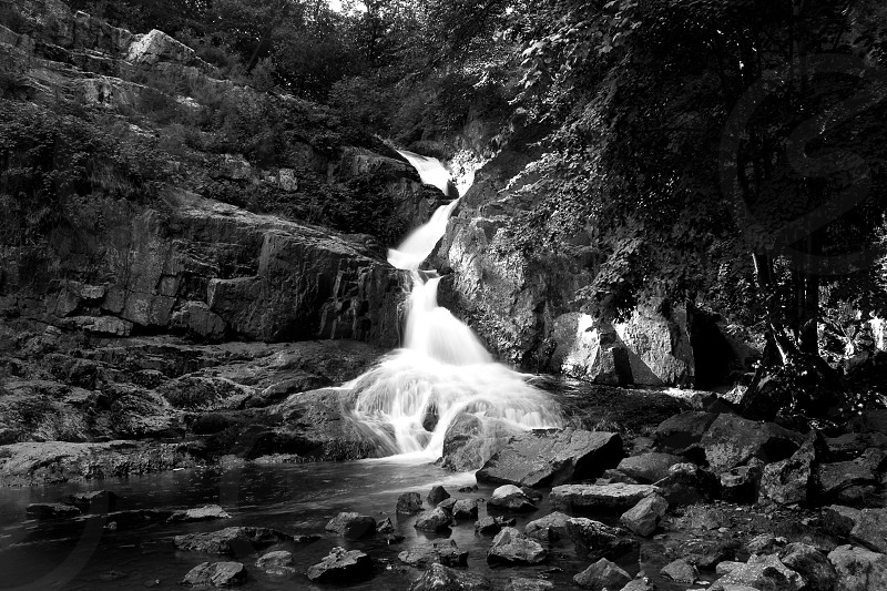 Waterfall Mortain Grand Cascade France water flowing monochrome black white photo