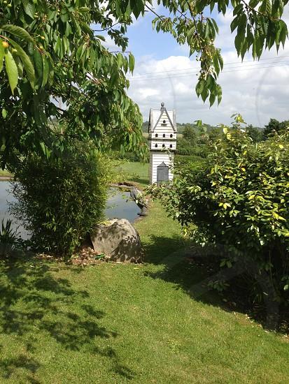 Green foliage grass pond dovecote white photo