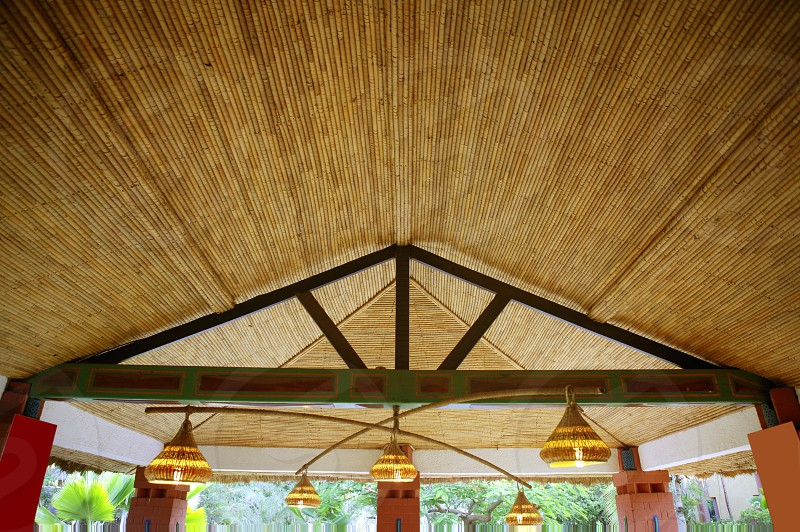 African traditional ethnic house vegetal ceiling in Senegal     photo