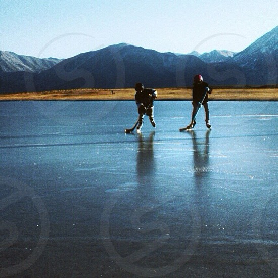 2 man skating silhouette  photo