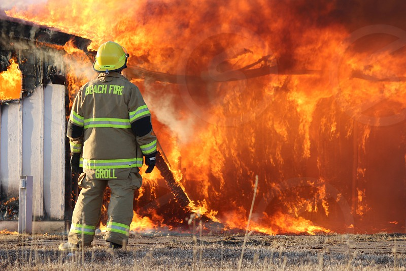 Fire flames fire fighter photo