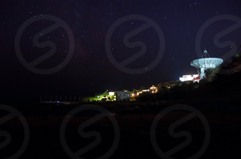 radio telescope aimed at the night sky photo