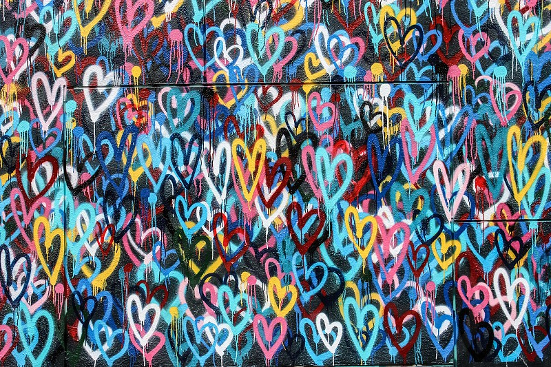 blue yellow red black multicolored hearts graffiti wall photo