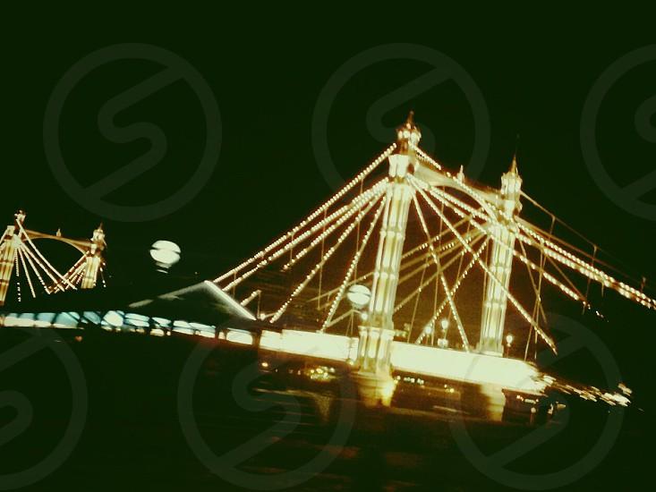 bridge with string lights photo