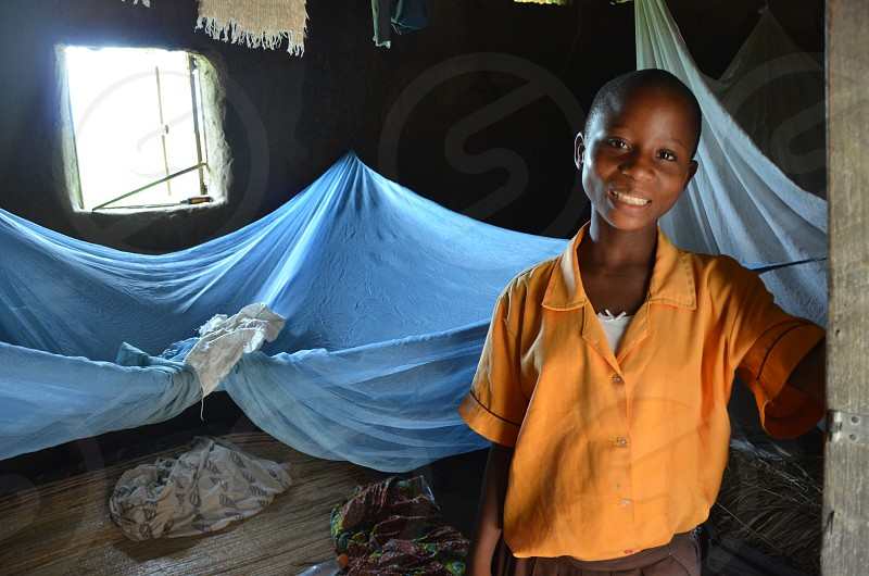 Girl with mosquito net.  photo