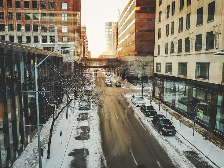 downtown Des Moines city scape in winter photo