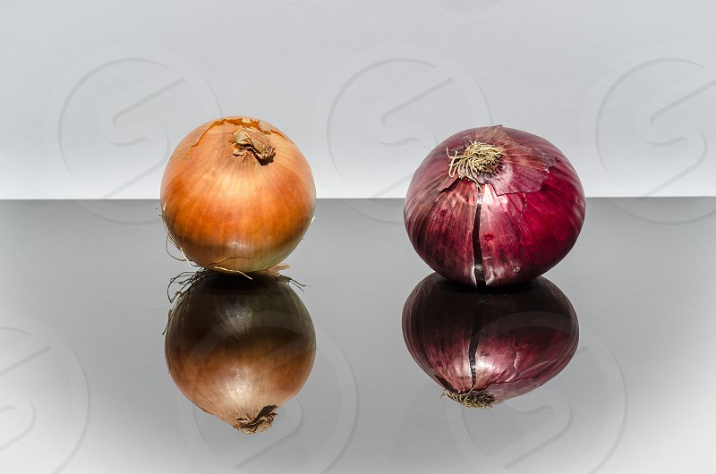 onion red yellow close-up reflection fresh organic farm photo