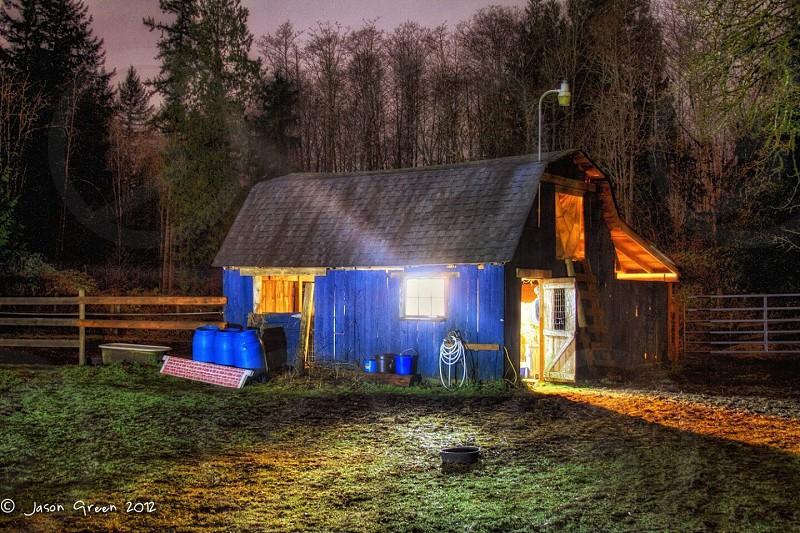 Cabin fairy tell light dark midnight barn HDR photo