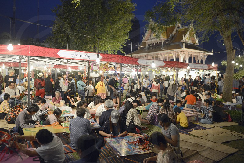 people at a streetfestival in the Santichaiprakan Park at the Mae Nam Chao Phraya River in the city of Bangkok in Thailand in Southeastasia. photo
