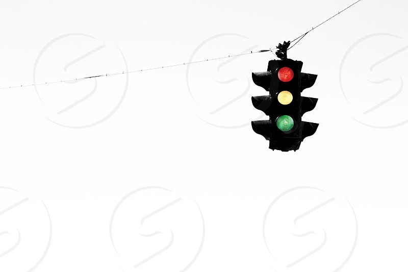 Stop Yield Go. Minimal stoplight photo