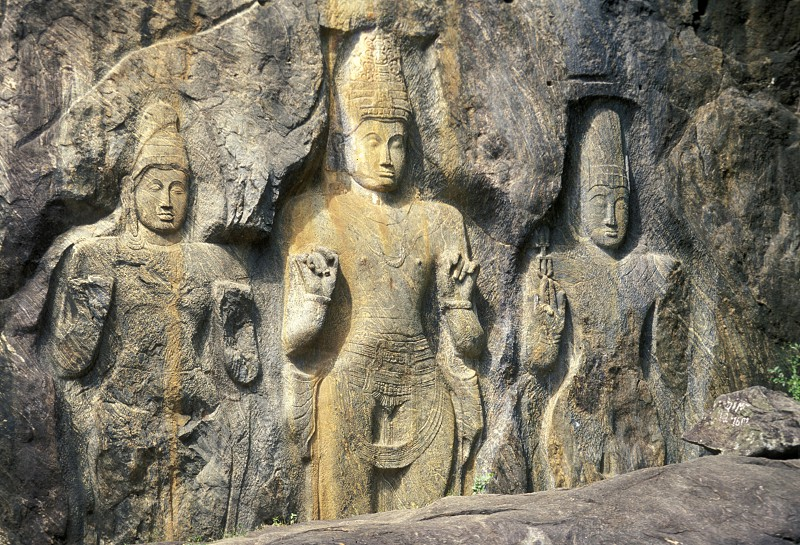 the stone temple in the town of Buduruwagala near Weligama in Sri Lanka in Asien. photo