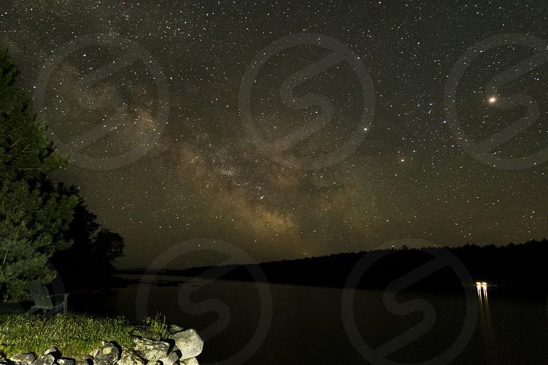 Lakeside Milky Way Camping. Stars. photo