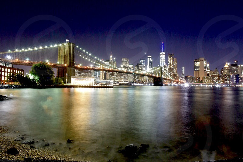 From Dumbo Brooklyn Manhattan view at night. Lights! photo
