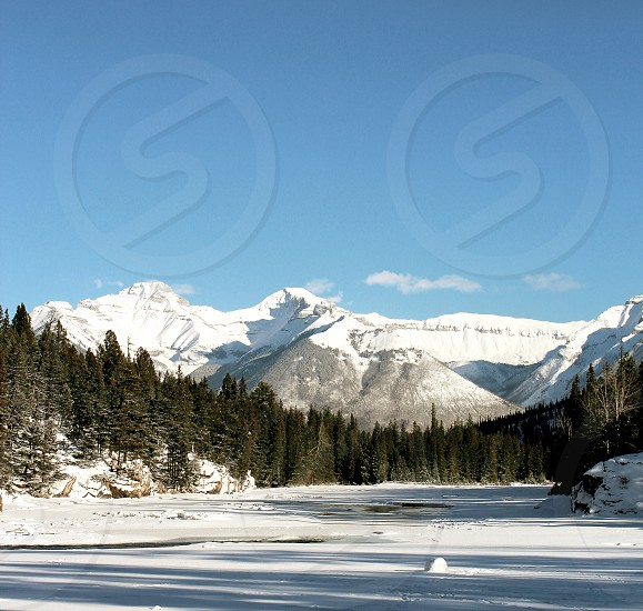 Banff mountains forest trees snow winter Alberta Canada travel explore roadtrip photo