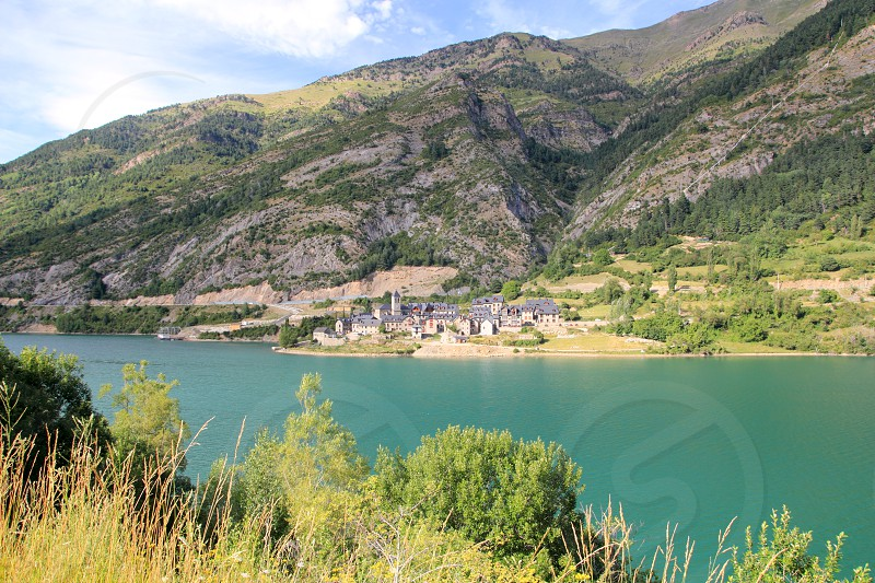 Lanuza village lake view Huesca Spain Pyrenees Aragon photo