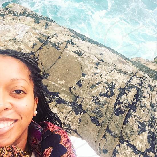 Summer; water; sea; cliff; selfie; blue; smile  photo