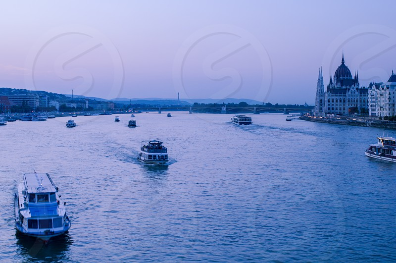 Europe Budapest Danube river boats photo
