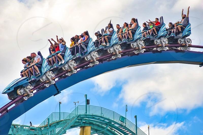 Orlando Florida. December 26 2018. People having fun extreme roller coaster ride. at Seaworld in International Drive area  (13) photo