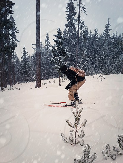 Skier skiing downhill during snowy day in high mountains between fir forest trees. Fast freeride winter sport. photo