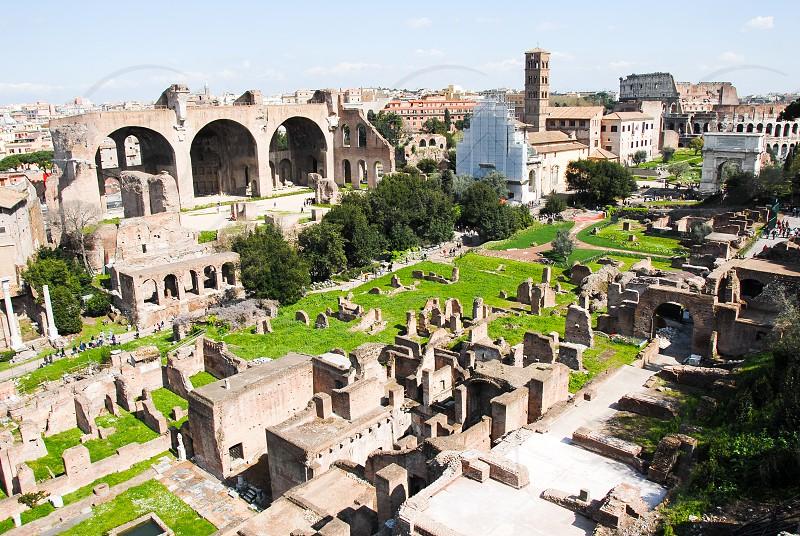 Foro Romano Ancient Roman remains Rome Italy  photo