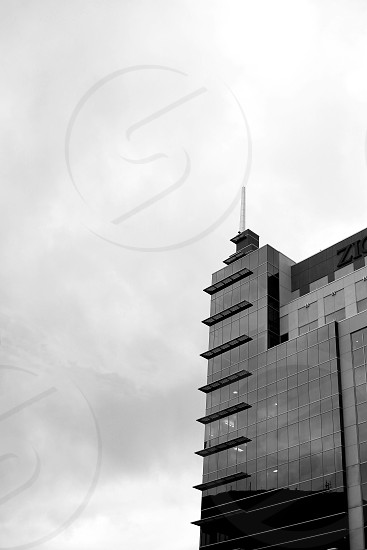 Zions bank building Boise architecture black and white point clouds lines buildings tall moody photo