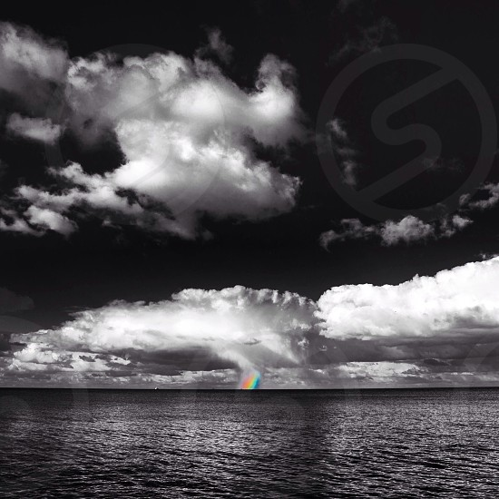 selected color of rainbow above an ocean under cloudy sky photo