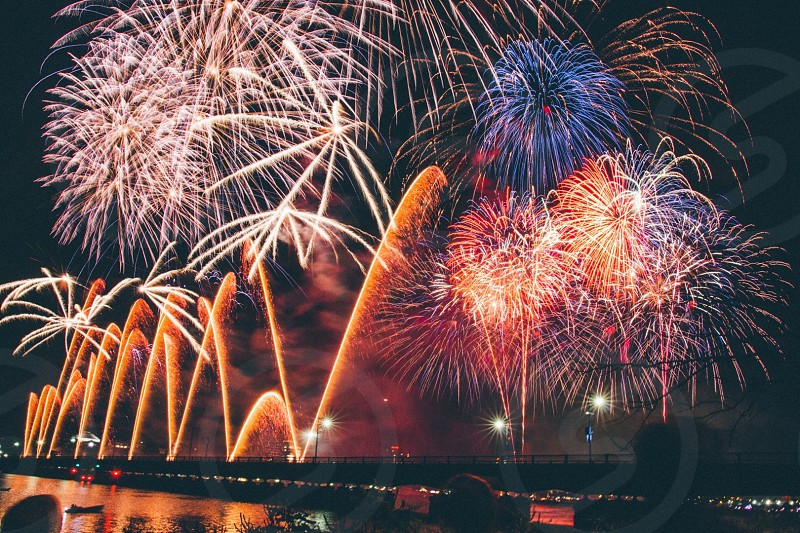 Boston fireworks new year photo