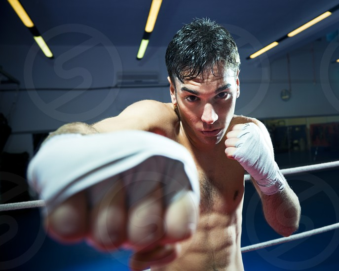 man; boxing; hitting; punching; training; fitness; sport; angry; gym; Indoors; People; athlete; active; strength; exercising; health club; working out; workout; muscular body; caucasian; male; concentration; determination; aggressive; copy space; young adult; young man; fighter; boxer; serious; hands; standing; mid adult; 20-25 years; one person; front view; combative sport; horizontal; 20s; tape; competitive sport; bare chested; aggression; wrapped; waist up; looking at camera photo