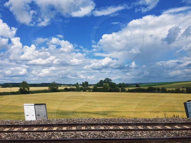 green meadow blue cloudy sky photo