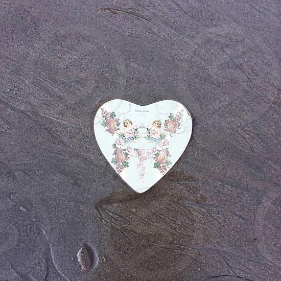 pink floral cherub heart stone photo