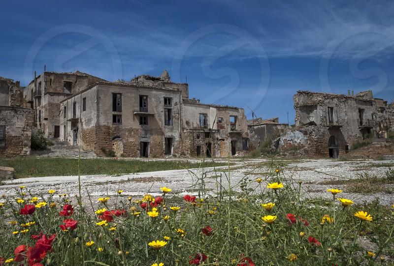 ruins of buildings beige photo