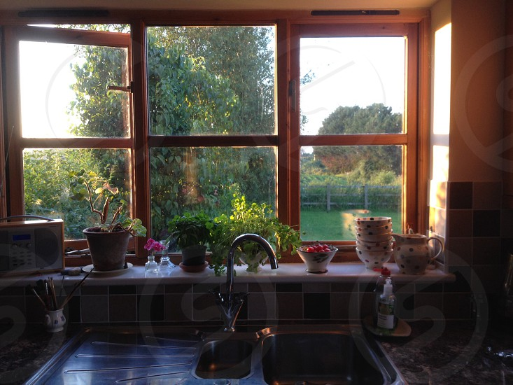 Kitchen in the summer English countryside photo