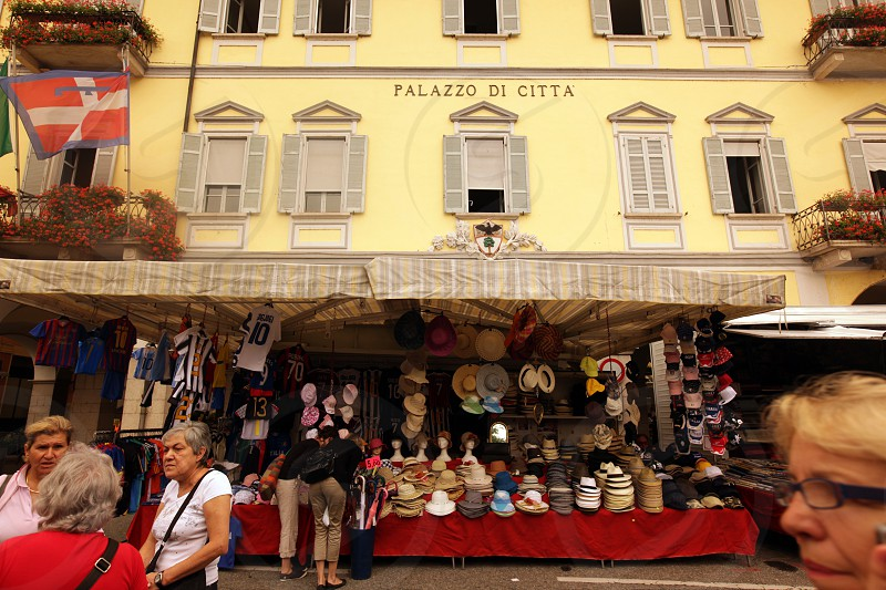 The Market in the town of Pallanza near to Verbania on the Lago maggiore in the Lombardia  in north Italy.  photo