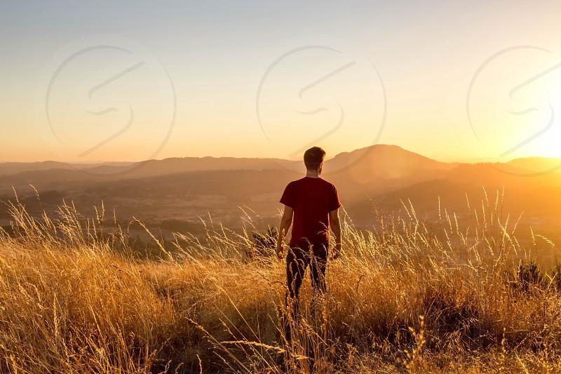 Sunset grass gold hike photo