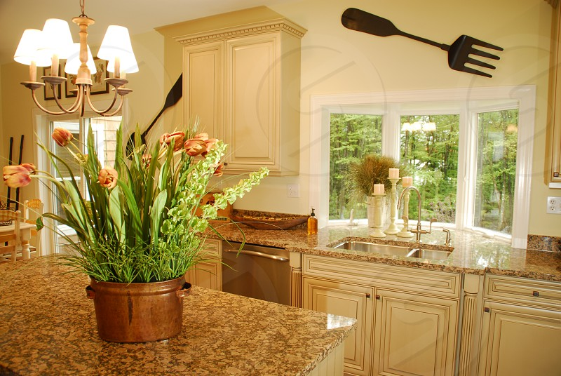 Kitchen Modern Country Granite Cream Cabinets Stainless photo
