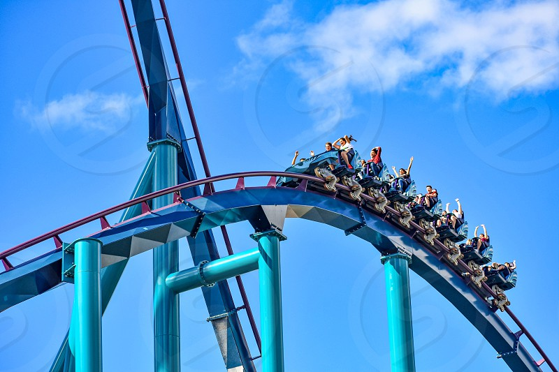 Orlando Florida. December 26 2018. This roller coaster is known for high speeds deep dives and thrills around every turn at Seaworld in International Drive area (12) photo