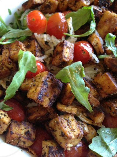 Vegetarian Vegan Salad Food Dinner Lunch Vegetables Tofu Grilled Arugula Tomato  photo