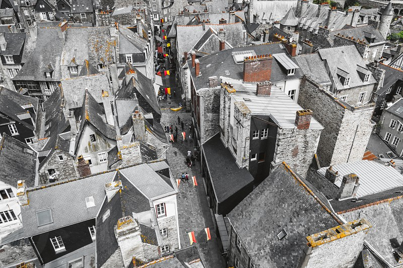 French britanny medieval town aerial view aerial view top view town medieval Dinan city center roofs top view cityscape travel photo