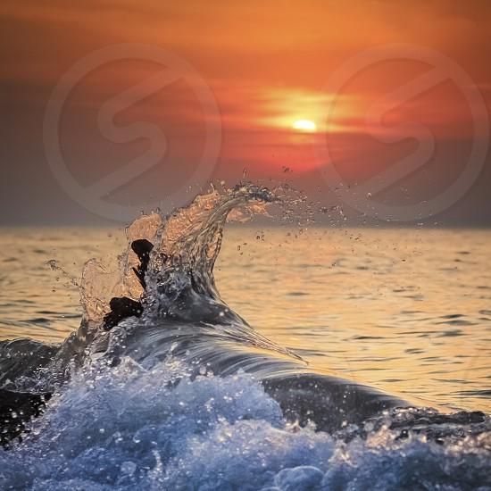 Lake Erie Splash during Sunset photo