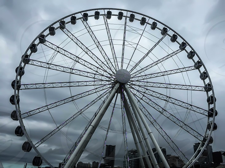 grayscale photography of ferris wheel photo