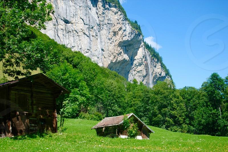 Swiss valley scene photo