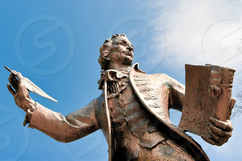 Statue of Thomas Paine Author of Rights of Man in Thetford Norfolk photo