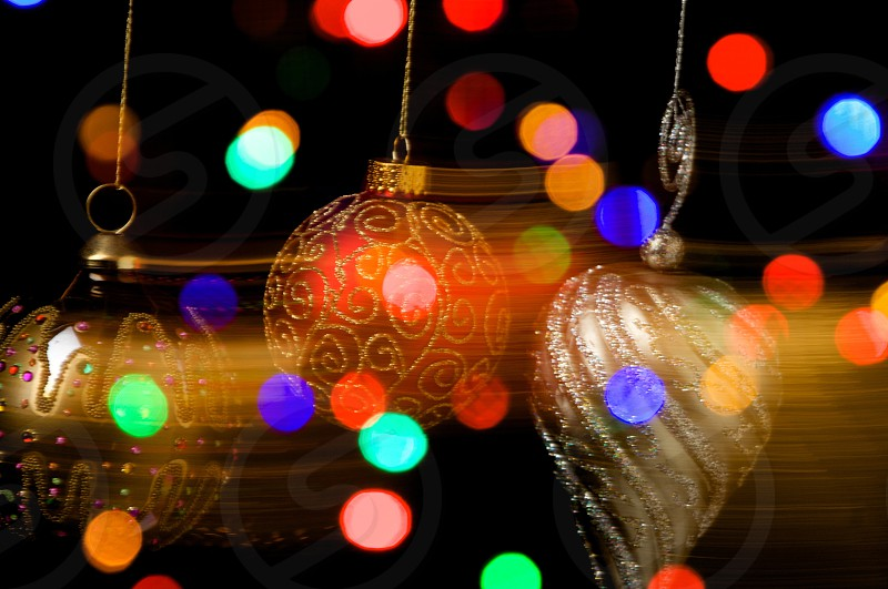Christmas ornaments in motion photo