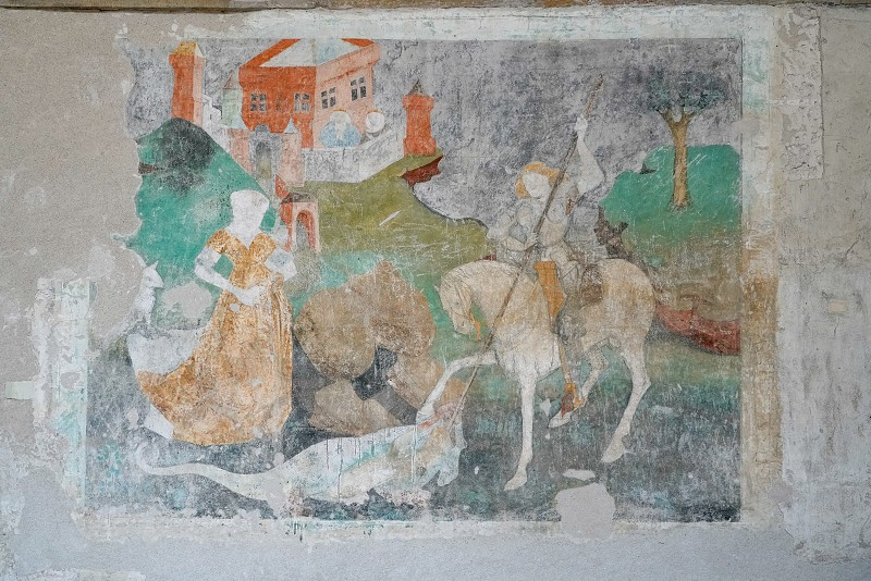 SIGHISOARA TRANSYLVANIA/ROMANIA - SEPTEMBER 17 : View of a fresco in the Church on the Hill in Sighisoara Transylvania Romania on September 17 2018 photo