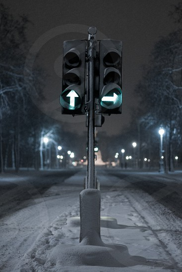 Traffic Lights signal 'go' on the deserted Royal Mall Westminster London UK photo